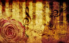 Vintage background with rose and notes - stock illustration