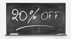 twenty per cent off written on blackboard - stock photo