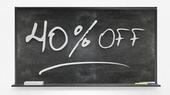 Fourty per cent off written on blackboard Stock Photos