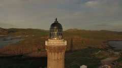 Stunning aerial shot of Ardnamurchan lighthouse on the coast of Scotland Stock Footage