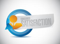 Consumer Satisfaction people cycle sign - stock illustration