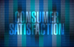 Consumer Satisfaction binary background sign - stock illustration