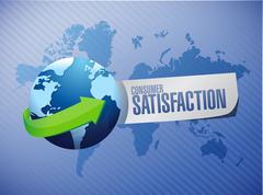 Consumer Satisfaction globe sign concept - stock illustration