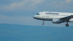 Airbus 319 approaching and landing Stock Footage
