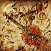Vintage violin background - stock illustration