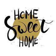Home sweet home hand lettering Stock Illustration