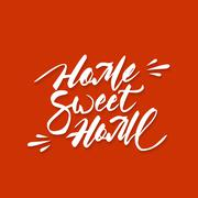 Home sweet home hand lettering - stock illustration