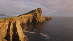 Beautiful aerial shot of Neist point on west coast of the Isle of Skye Stock Footage