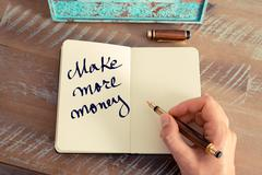 Motivational concept with handwritten text MAKE MORE MONEY - stock photo