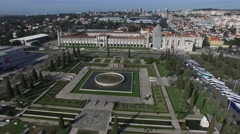 Aerial View of Empire Square - Praca do Imperio - in Belem, Lisbon, Portugal - stock footage