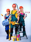 Group people of builder  with construction tools Stock Photos