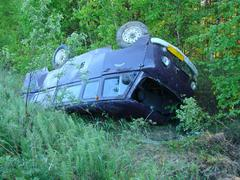 The car which moved down in a ditch as a result of accident - stock photo