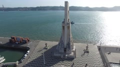 Aerial View of Monument to the Discoveries, Lisbon, Portugal Stock Footage