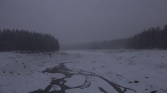 4k Winter snow mountain range Harz forest nature reserve Stock Footage