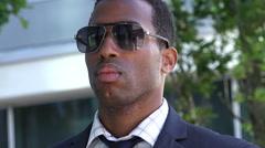 handsome businessman closeup portrait: corporate worker: businesspeople  - stock footage