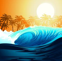 Tropical surfing wave at sunrise with palm trees Piirros