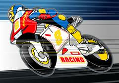 Motorbike sports racing embroidery applique Stock Illustration