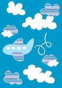 Plane in clouds with stripes Stock Illustration