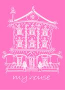 Pretty lace doll house on pink background Stock Illustration