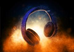 Audio Headphones Lit Dramatically from Below - stock illustration