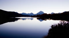 Time lapse Grand Teton National Park in autumn - Oxbow Bend Sunset pan Stock Footage