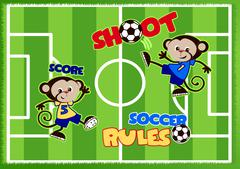 Stock Illustration of Soccer monkeys playing on a green sports field