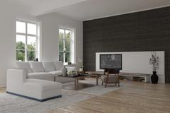 Spacious modern living room interior - stock illustration