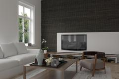 Modern living room interior with a television Stock Illustration