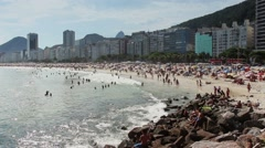 Rio de Janeiro famous crowd beach in the Summer - 1080p - stock footage