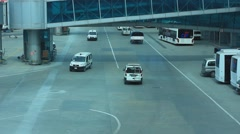 Transportation service vehicles in Istanbul Ataturk airport Stock Footage