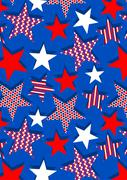 Stars with stripes and dots repeat pattern Stock Illustration