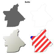 Butte County, California outline map set - stock illustration