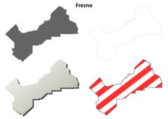 Fresno County, California outline map set - stock illustration