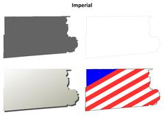 Imperial County, California outline map set Stock Illustration