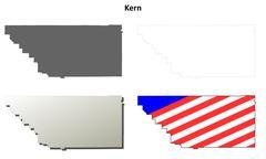 Kern County, California outline map set Stock Illustration