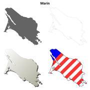 Marin County, California outline map set - stock illustration