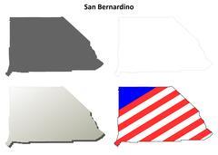 San Bernardino County, California outline map set Stock Illustration