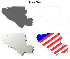 Santa Clara County, California outline map set Piirros