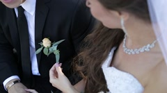 The bride adjusts his boutonniere to the groom Stock Footage