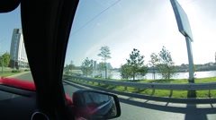 He drive along the waterfront of the Kuban Stock Footage