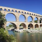 Pont du Gard Roman aqueduct UNESCO World Heritage Site Gard river Stock Photos