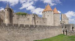 Stock Photo of La Cite medieval fortress city Carcassonne UNESCO World Heritage Site