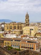 View from Monte de Gibralfaro to the historic centre with Malaga Cathedral Stock Photos