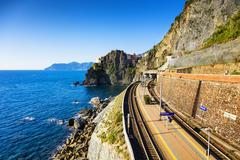 Manarola village, train or railroad station rock and sea. Cinque Terre, Italy Kuvituskuvat