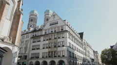 Shopping street of Munich next to Marienplatz Stock Footage