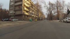 Car moving through deserted streets. Stock Footage