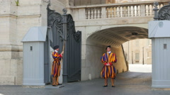VATICAN CITY, AUGUST 2015: swiss guards of pope - stock footage