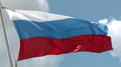 The Flag of Russia Waving in the Wind in Slow Motion 1 Stock Footage
