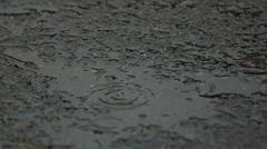 Raindrops Falling on Asphalt in Slow Motion 3 - stock footage