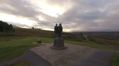 Stunning aerial shot of the commando memorial at Spean Bridge near Fort William Stock Footage